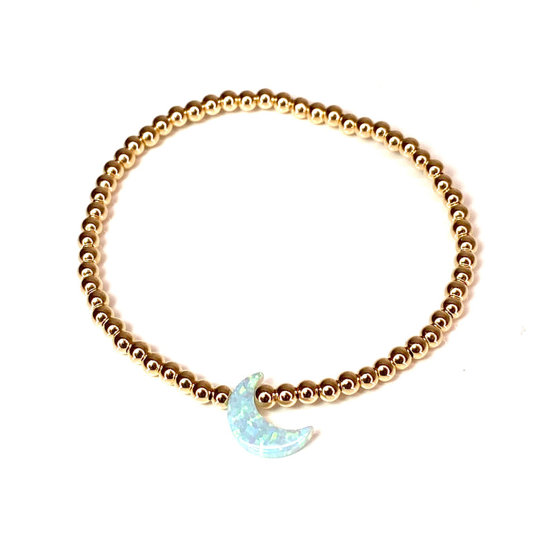 Light Blue Opal Moon Bracelet