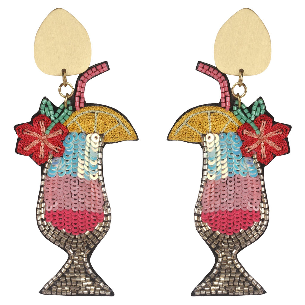 Rainbow Cocktail Beaded Earrings
