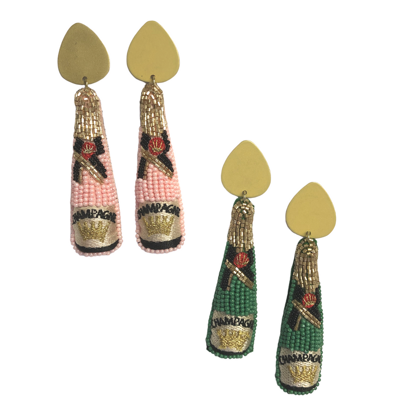 Beaded Green Champagne Earrings