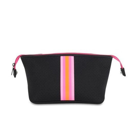 Black Striped Neoprene Cosmetic Case