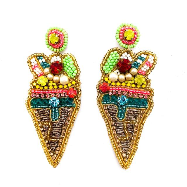 Beaded Ice Cream Cone Earrings