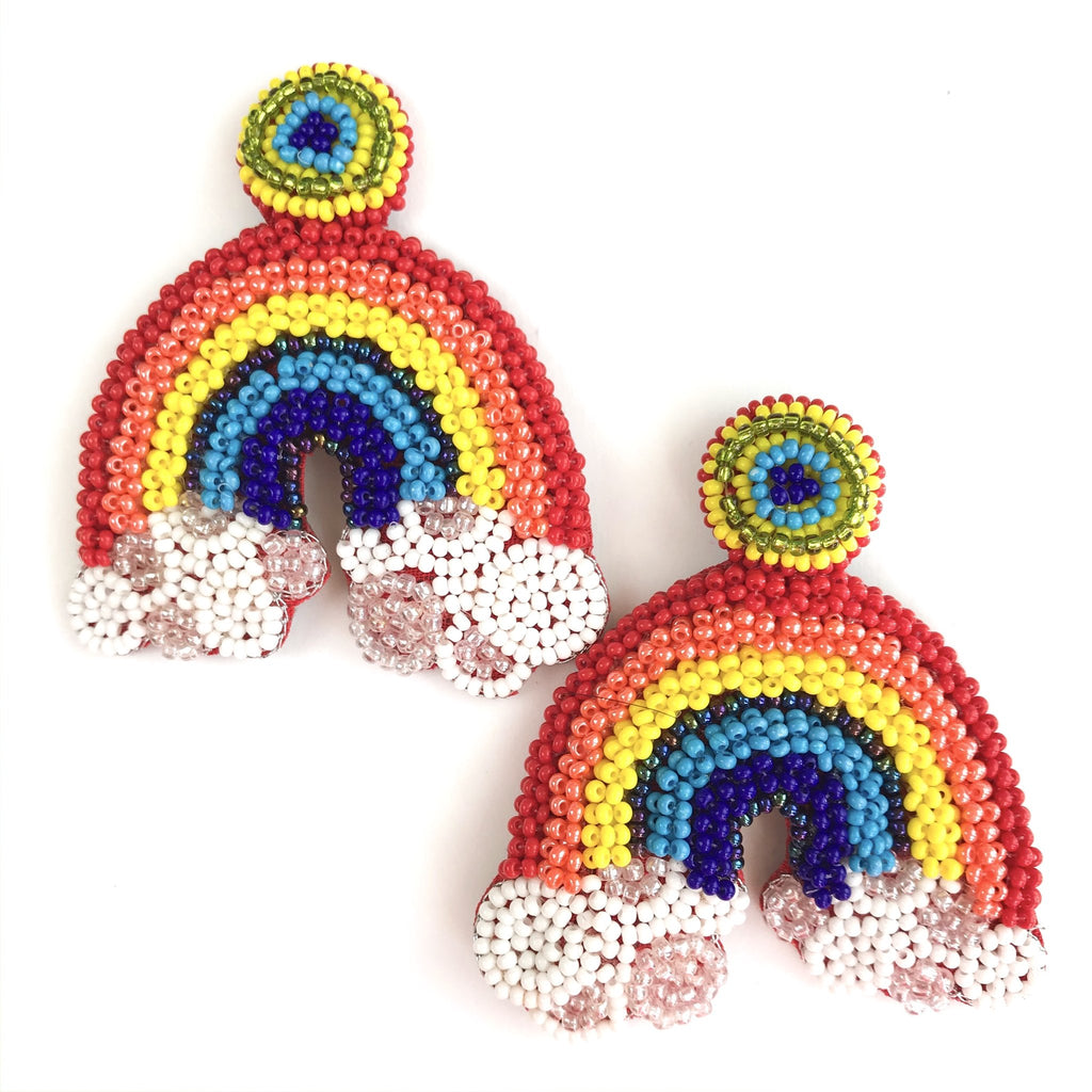 Beaded Rainbow Earrings