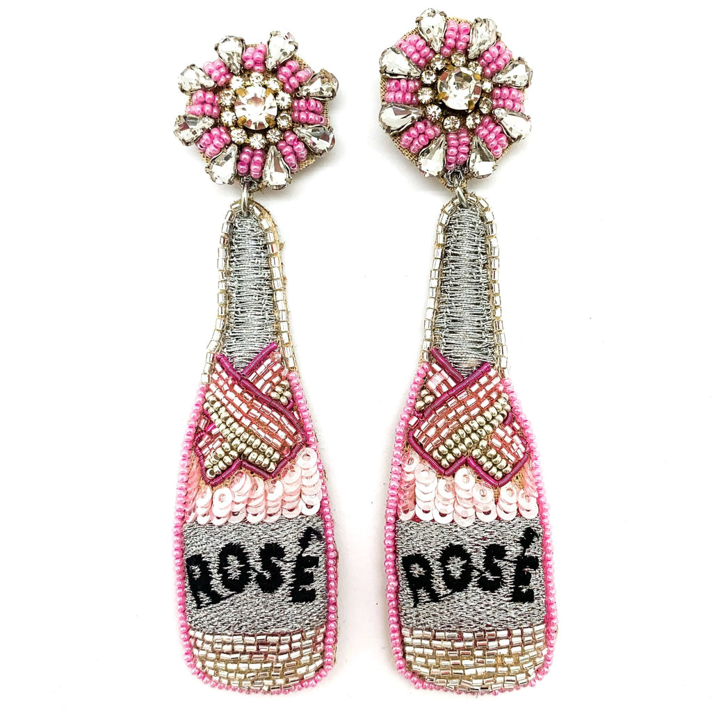 Beaded Rosé Bottle Earrings