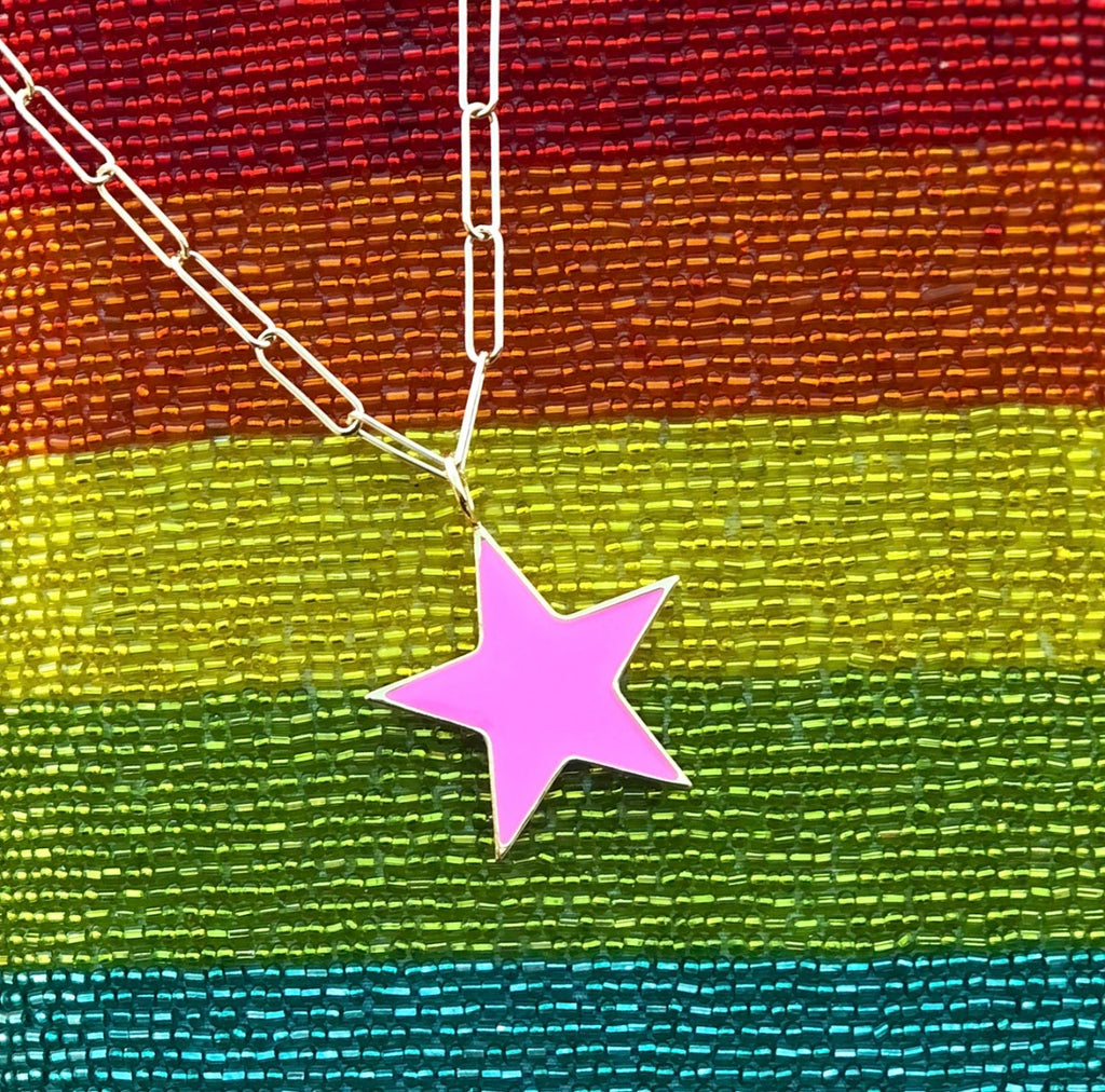 Large Pink Enamel Star Necklace