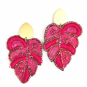 Beaded Pink Leaf Earrings