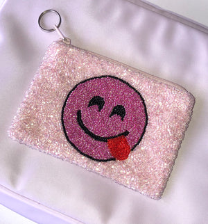 Pink Smiley Beaded Coin Purse