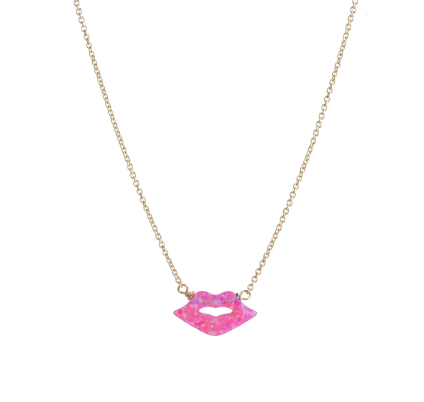 Hot Pink Opal Lip Necklace
