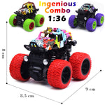 CozyBomB Friction Powered Monster Trucks Toys for Boys - Push and Go Car Vehicles Truck Playset, Inertia Vehicle, Kids Birthday Christmas Party Supplies Gift 3 Years Old (Purple, Red, Green)