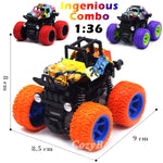 Friction Powered Monster Trucks Toys 3-Pack (Purple,Red,Orange)