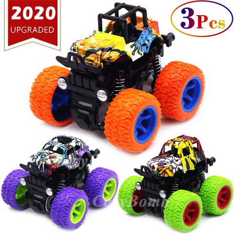 CozyBomB Friction Powered Monster Trucks Toys for Boys - Push and Go Car Vehicles Truck Playset, Inertia Vehicle, Kids Birthday Christmas Party Supplies Gift 3 Years Old (Purple, Orange, Green)