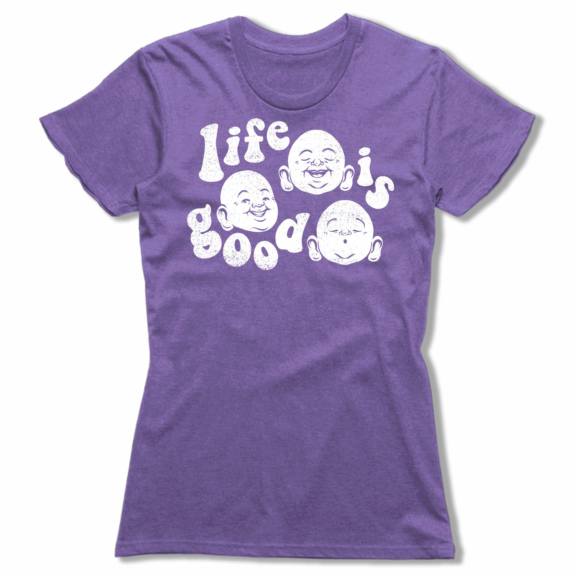 Life-Is-Good-Bitty-Buda-Women-T-Shirt-Purple