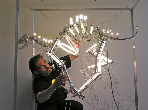 Stefan Yordanov working on one of his sculptural installations