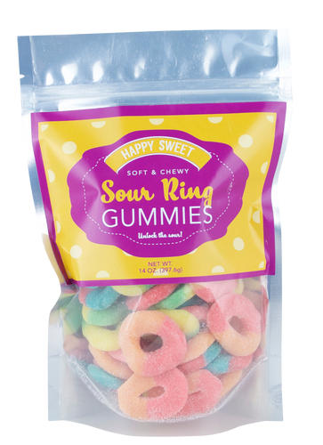 Happy Sweet Polka Dot Sour Ring Gummies