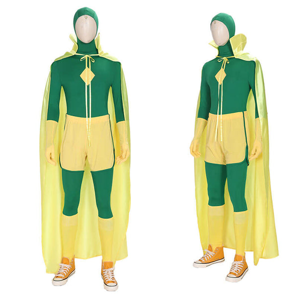 WandaVision Vision Green Jumpsuit Bodysuit Cape Cosplay Costume Full Set Outfit