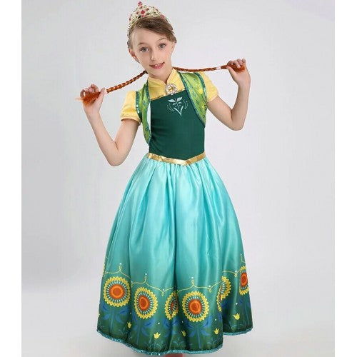 Disney Frozen Fever Cinderella New Anna Little Girl Dress Cosplay Costume