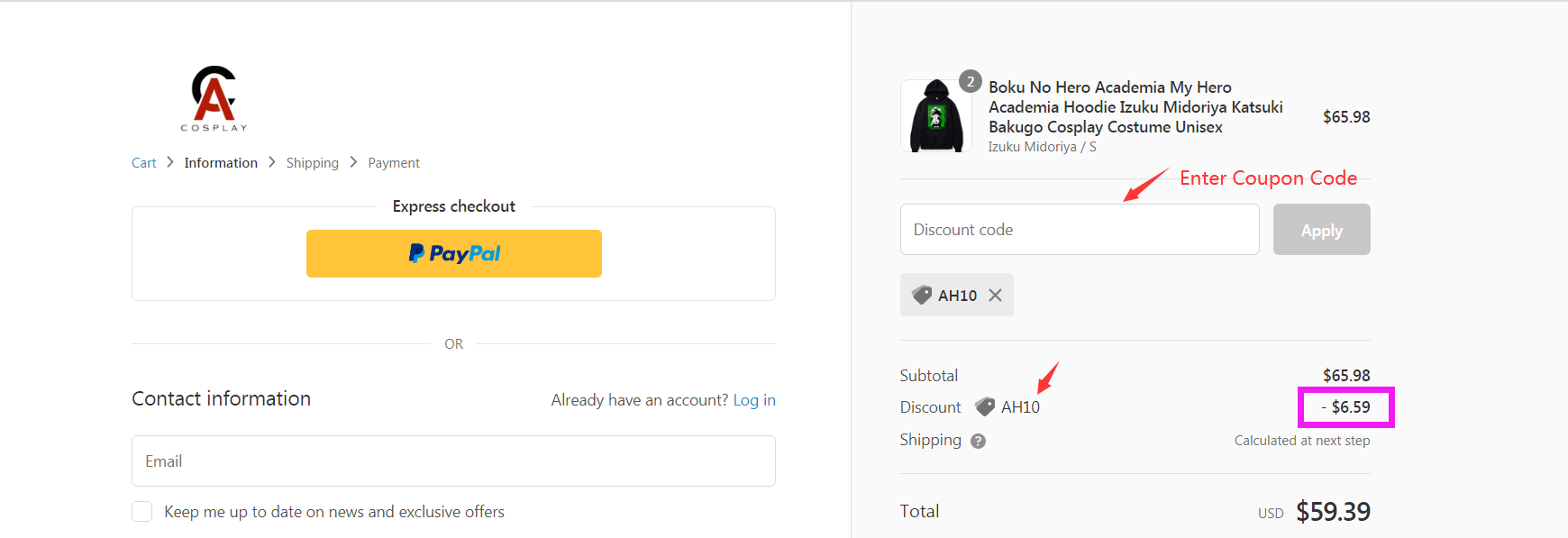 How to use ACcosplay Coupon Code?