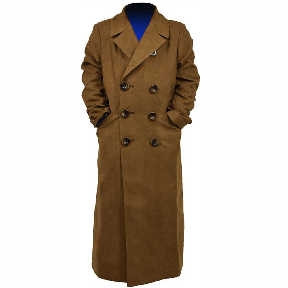 Doctor Who Cosplay Kids 10th Tenth Doctor Suede Trench Coat Children Halloween Costumes