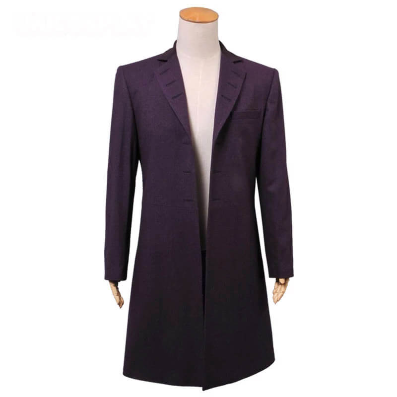 Doctor Who Cosplay Eleventh 11th Doctor Buttonless Purple Wool Frock Coat Costume - ACcosplay