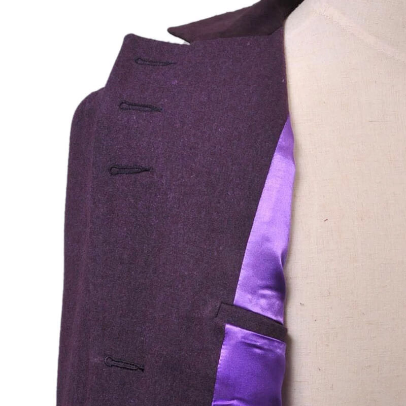 Doctor Who Eleventh 11th Doctor Buttonless Purple Wool Frock Coat Costume - ACcosplay