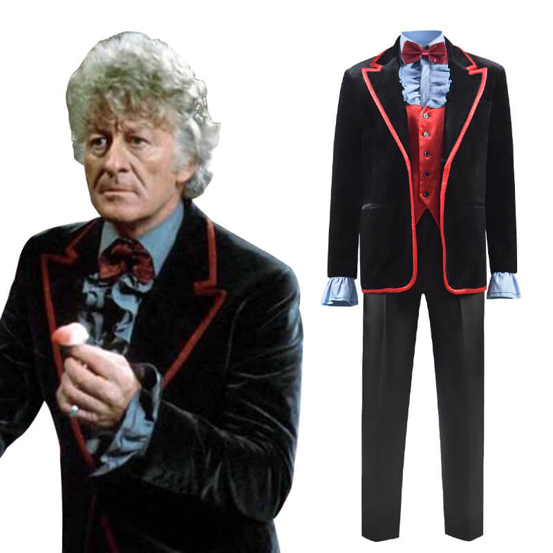 Doctor Who Third 3rd Doctor Costume Green Death Jacket Cosplay Shirt