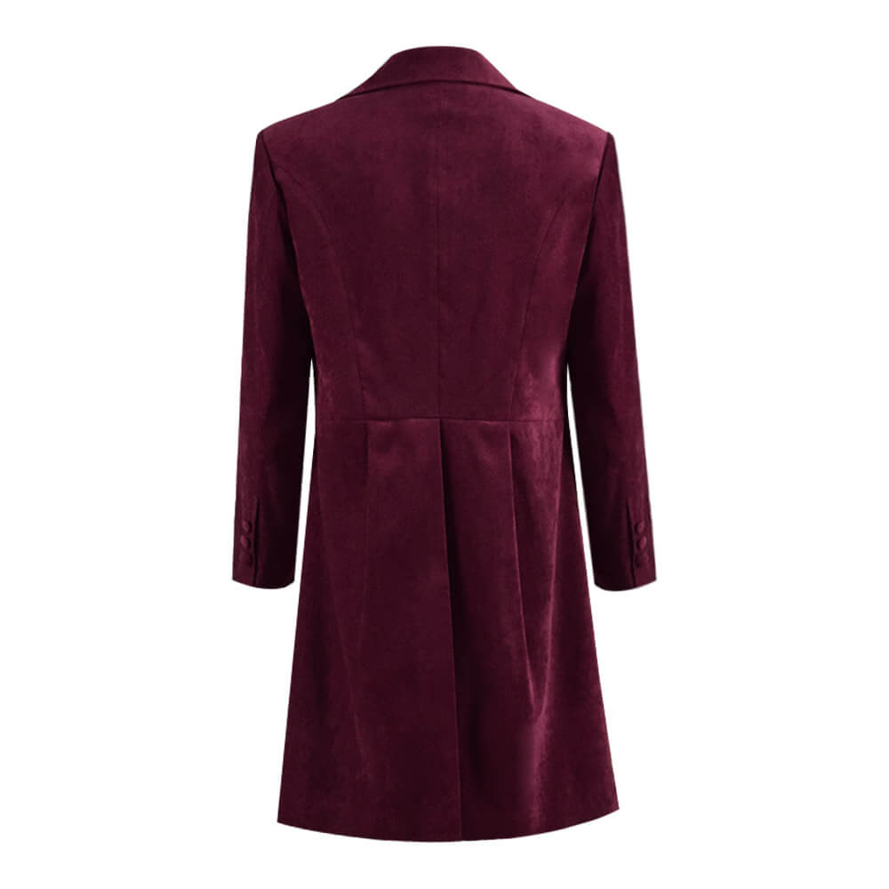 Dr. Fourth 4th Doctor Velvet Trench Coat Burgundy Cosplay Costume - ACcosplay
