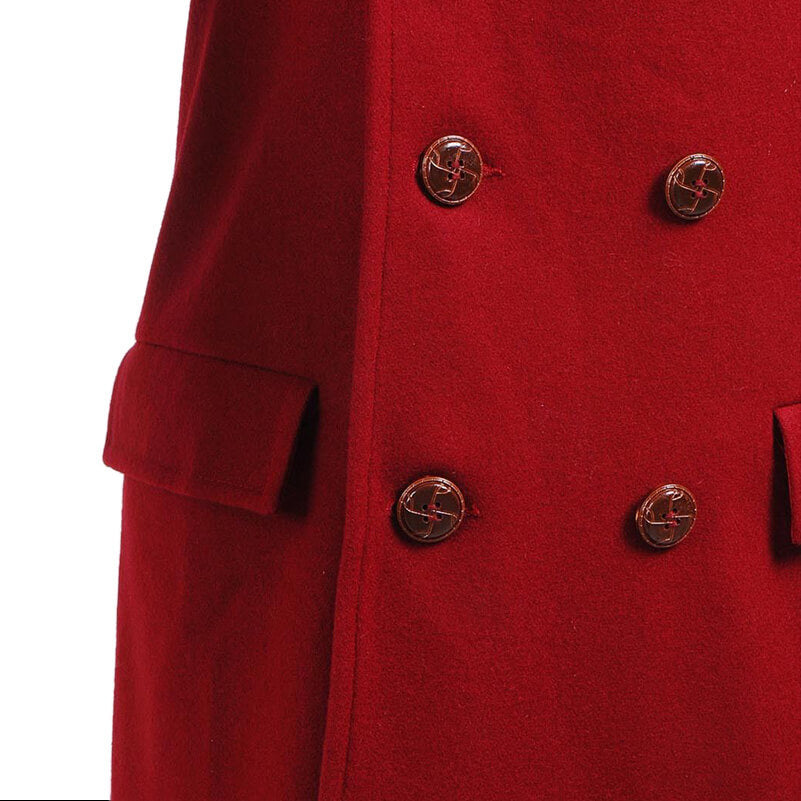 Doctor Who fourth 4th Doctor Dark Red Long Trench Wool Coat Cosplay Costume - ACcosplay
