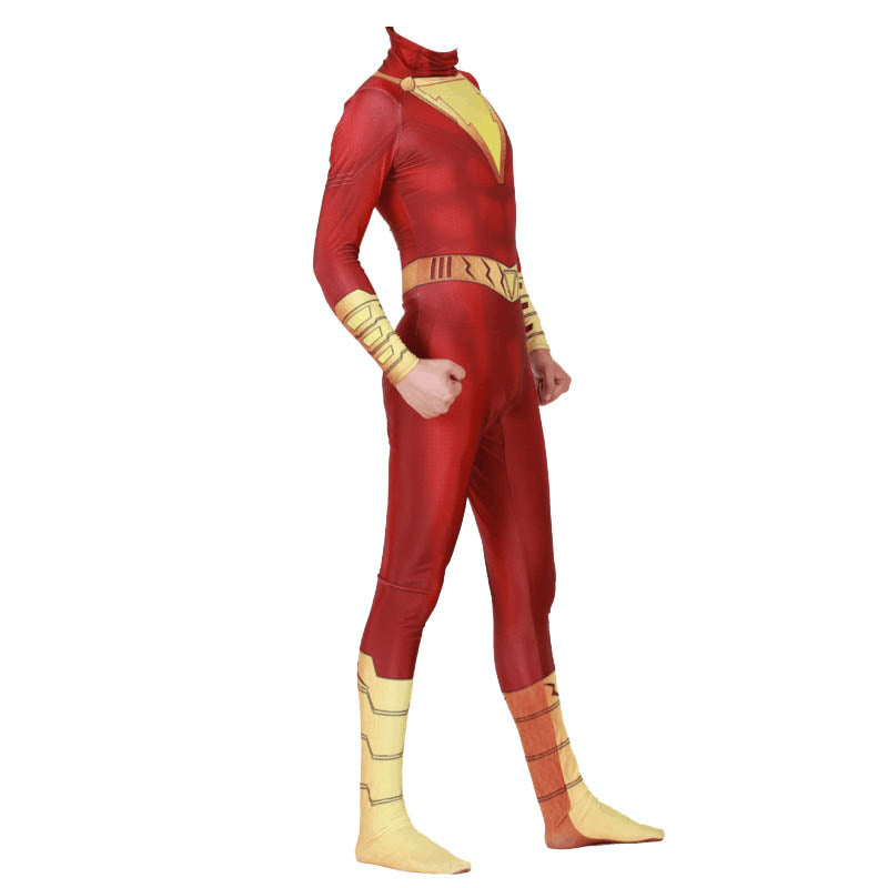 Shazam Billy Batson Captain Marvel Cloak Jumpsuit Cosplay Costume - ACcosplay