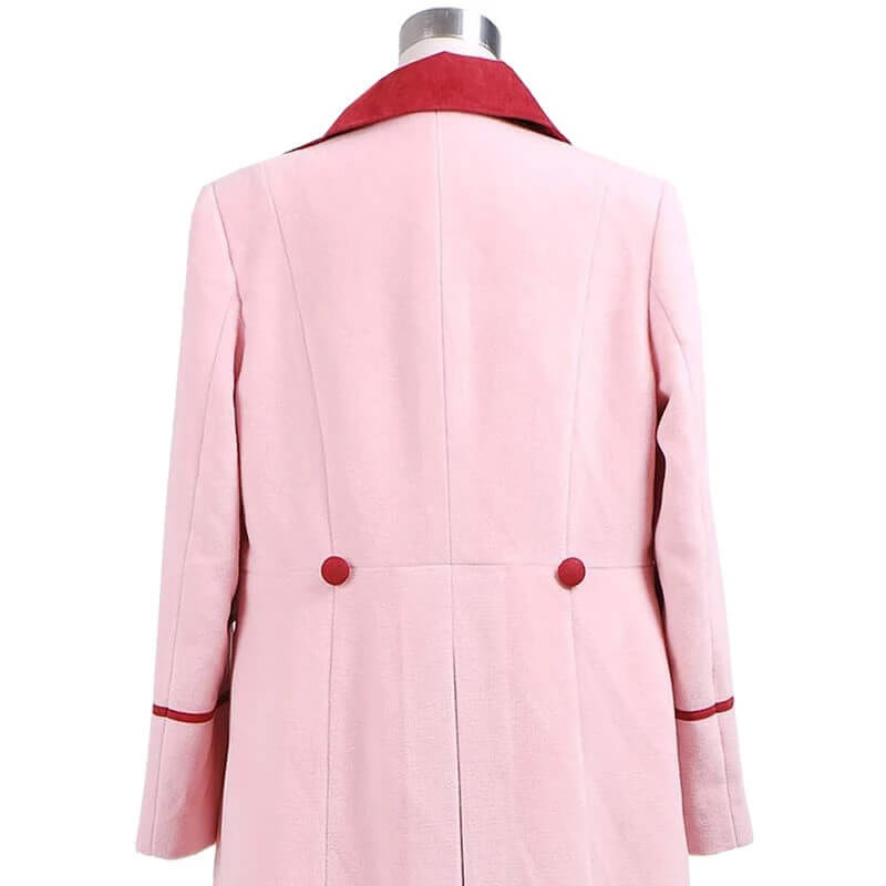 Doctor Who 5th Doctor Romana Long Pink Cashmere Trench Coat Cosplay Costume - ACcosplay