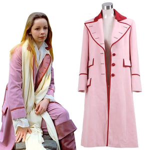 Doctor Who 5th Doctor Romana Long Pink Cashmere Trench Coat Cosplay Costume