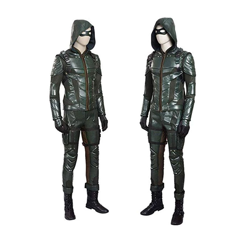 Men Archer Green Oliver PU Leather Battle Suit Halloween Cosplay Costume - ACcosplay