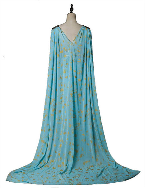 Game of Thrones Queen Daenerys Targaryen Cospaly Blue Long Dress Cape Costume - ACcosplay