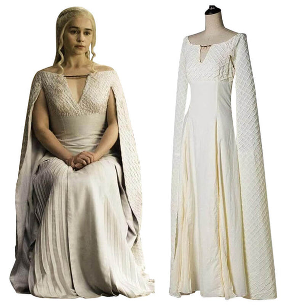 Game of Thrones Queen Daenerys Targaryen White Long Dress Women Cosplay Costume