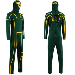 ACcosplay Kick Ass Costume Dave Lizewski Green Jumpsuit Men Cosplay Outfit