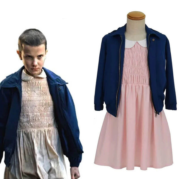 Eleven Stranger Things Halloween Costume Pink Dress Jacket For Kids Adults - ACcosplay