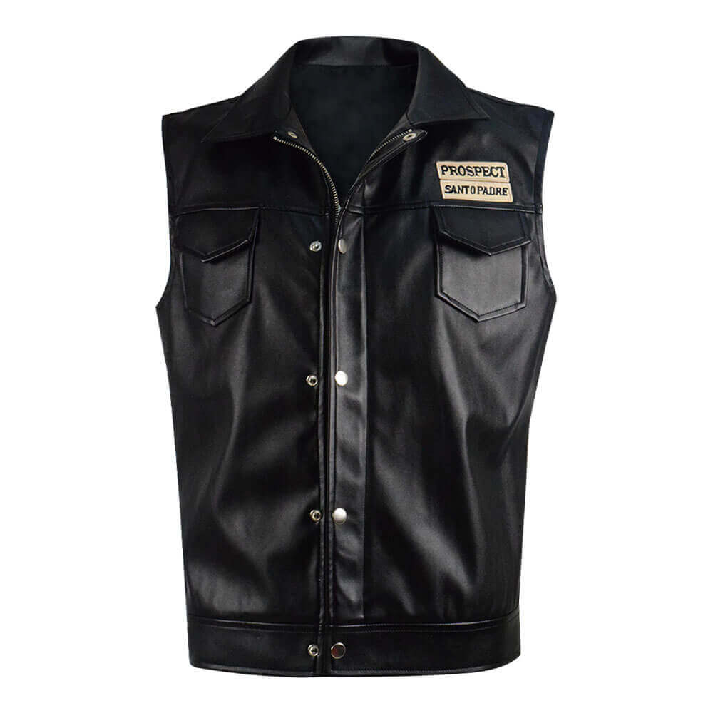 Mayans MC Ezekiel Reyes Black Leather Vest Coat Jacket Costume ACcosplay - ACcosplay