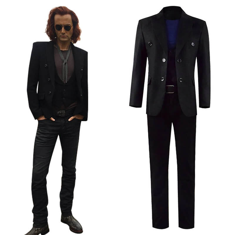 Good Omens David Tennant Black Full Set Crowley Costumes Cosplay ACcosplay - ACcosplay
