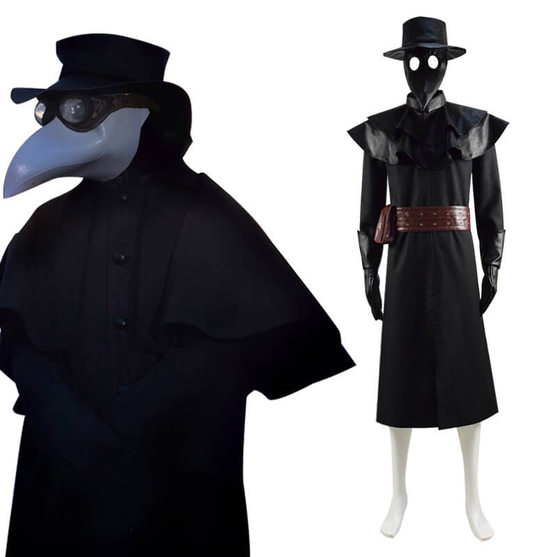 Halloween Plague Doctor Costume Outfit Cosplay Beak Mask Hat - ACcosplay