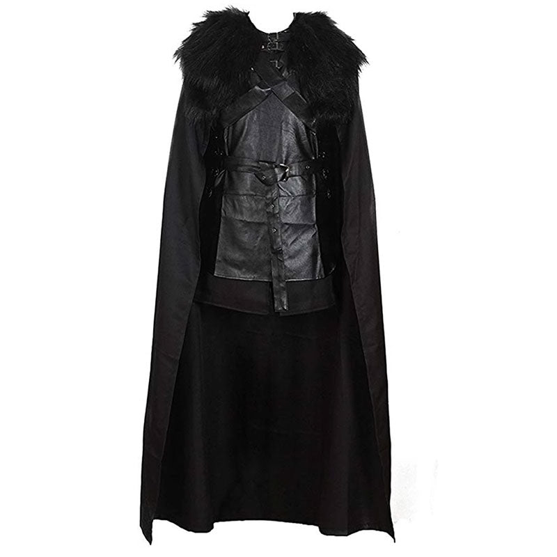 Game of Thrones 5 Jon Snow Costume Black PU Jacket Full Outfits Mens Halloween Cosplay - ACcosplay