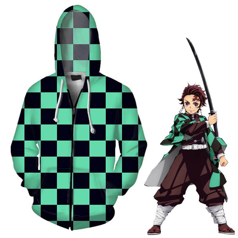 Demon Slayer‎ Kimetsu No Yaiba 3D Print Hooded Pullover Zipper Jacket Coat - ACcosplay