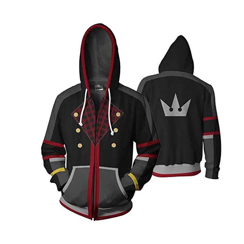 Kingdom Hearts Sora Aqua Costume Halloween Game Zip Up Pullover Jacket Cosplay - ACcosplay