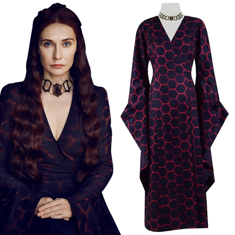 Game Of Thrones Season 8 Melisandre Costume Halloween Cosplay Party Long Dress - ACcosplay