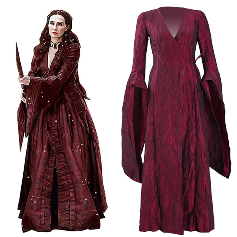 Game of Thrones GoT The Red Woman Melisandre Dress Suit Outfit Whole Set New