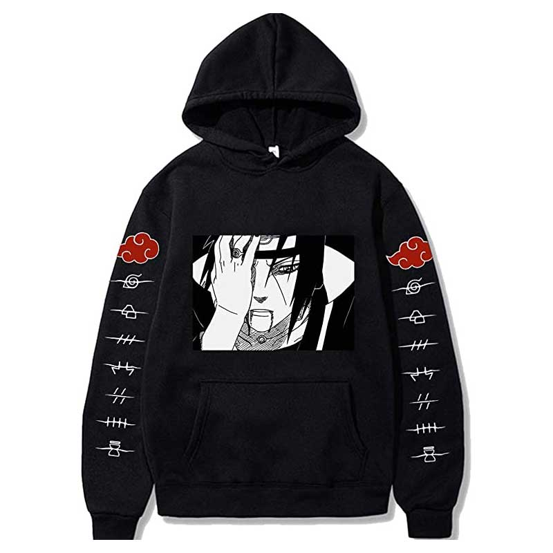 Naruto Hoodie Pain Jacket Black Long Sleeve Sweatshirt Pullover Sweater Cosplay Costume