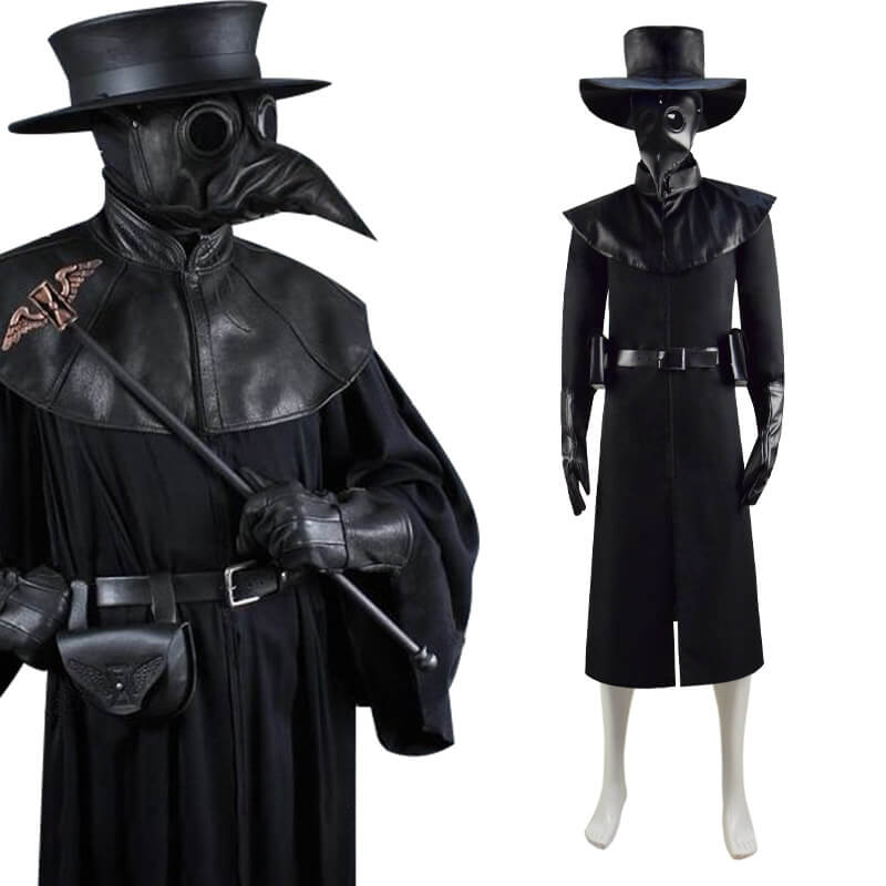 Halloween Plague Doctor Costume Hat Steampunk Bird Mask Cosplay Outfit - ACcosplay