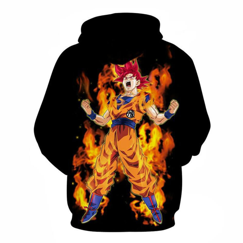 Mens 3D Dragon Ball Hoodie Red Fire Saiyan God Son Goku Printed Hoodie Sweatshirt - ACcosplay