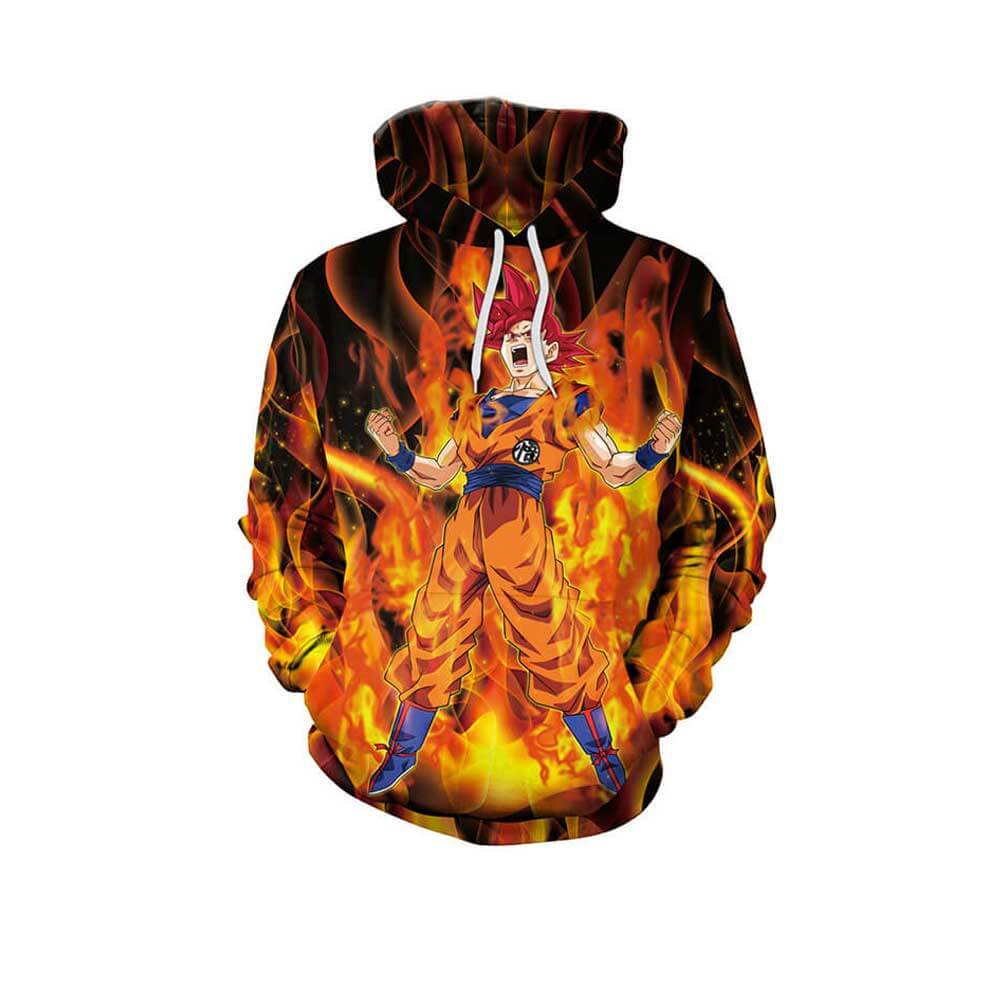 Mens 3D Dragon Ball Red Fire Saiyan God Son Goku Printed Hoodie Sweatshirt