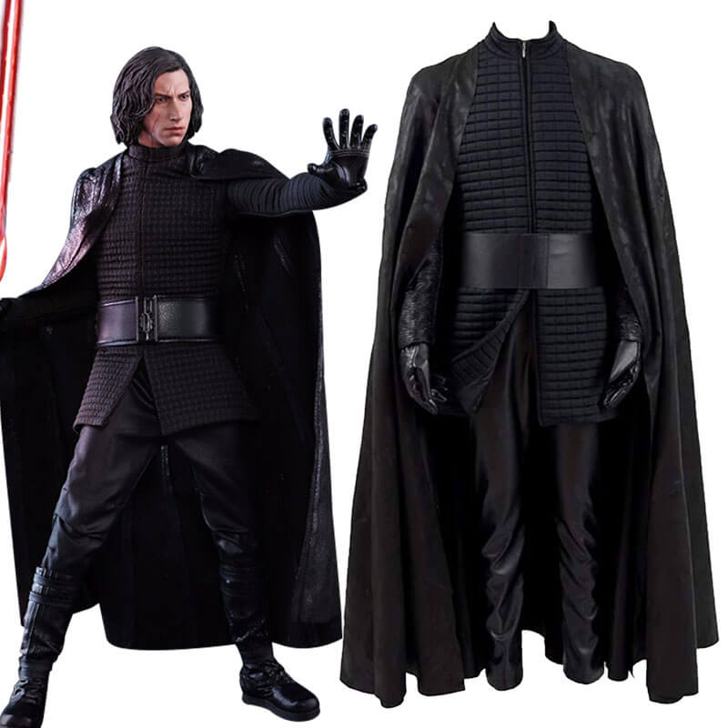 Star Wars Kylo Ren Cosplay Costume Halloween PU Outfits with Cloak for Men