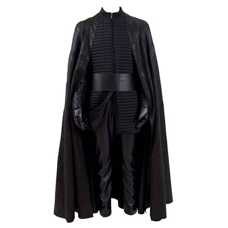Star Wars Kylo Ren Cosplay Costume Halloween PU Outfits with Cloak for Men - ACcosplay