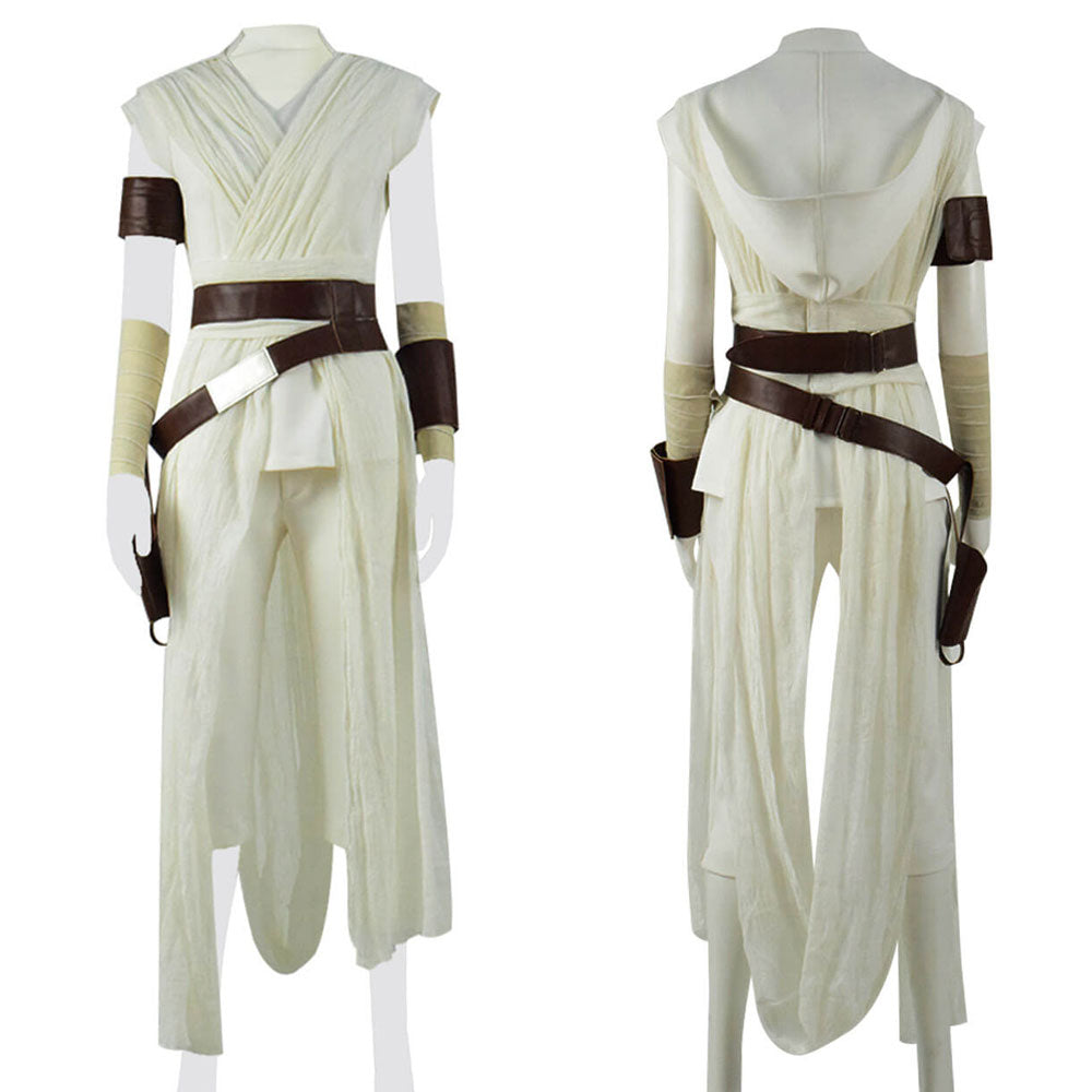 Star Wars The Rise Of Skywalker Rey Cosplay Costume White Outfit Full Accosplay
