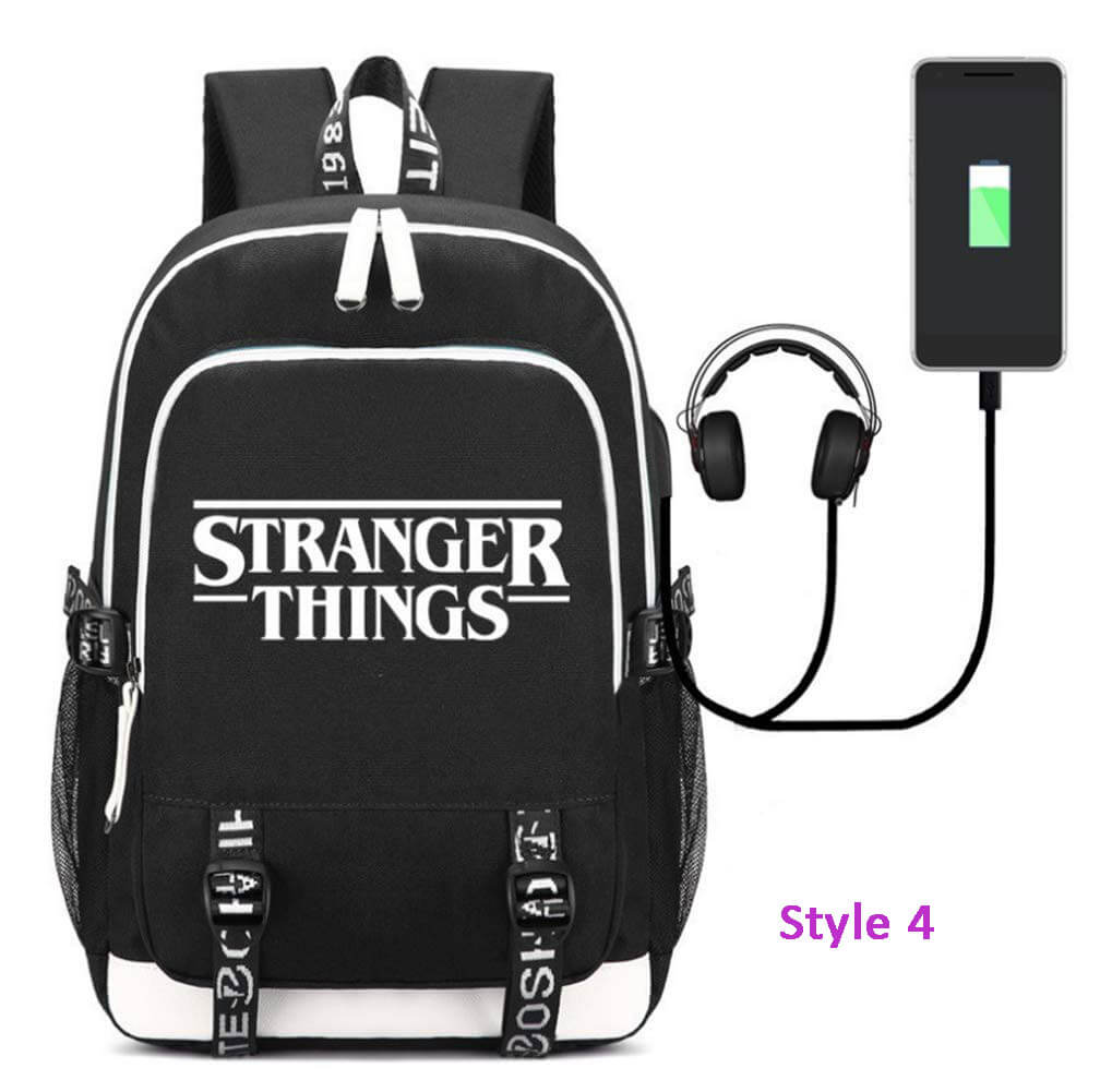 Stranger Things Backpack School Bag Bookbag with USB Charging Port - ACcosplay